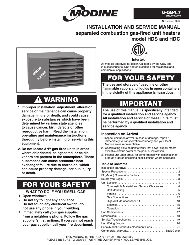 modine hot dawg installation manual