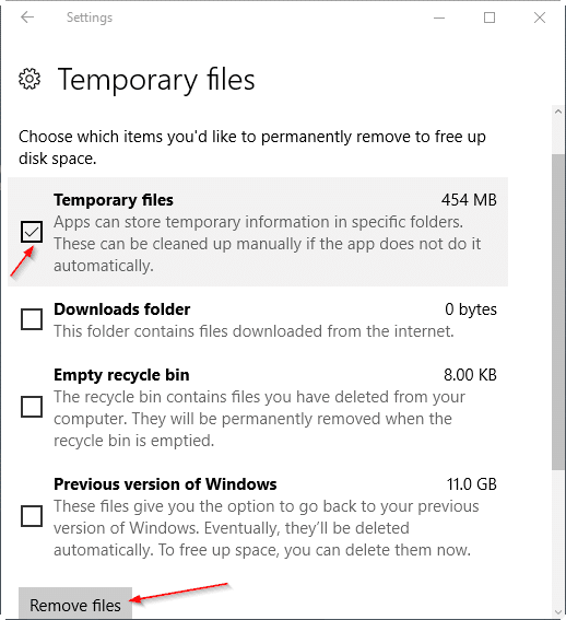 delete temp files windows 10 manually
