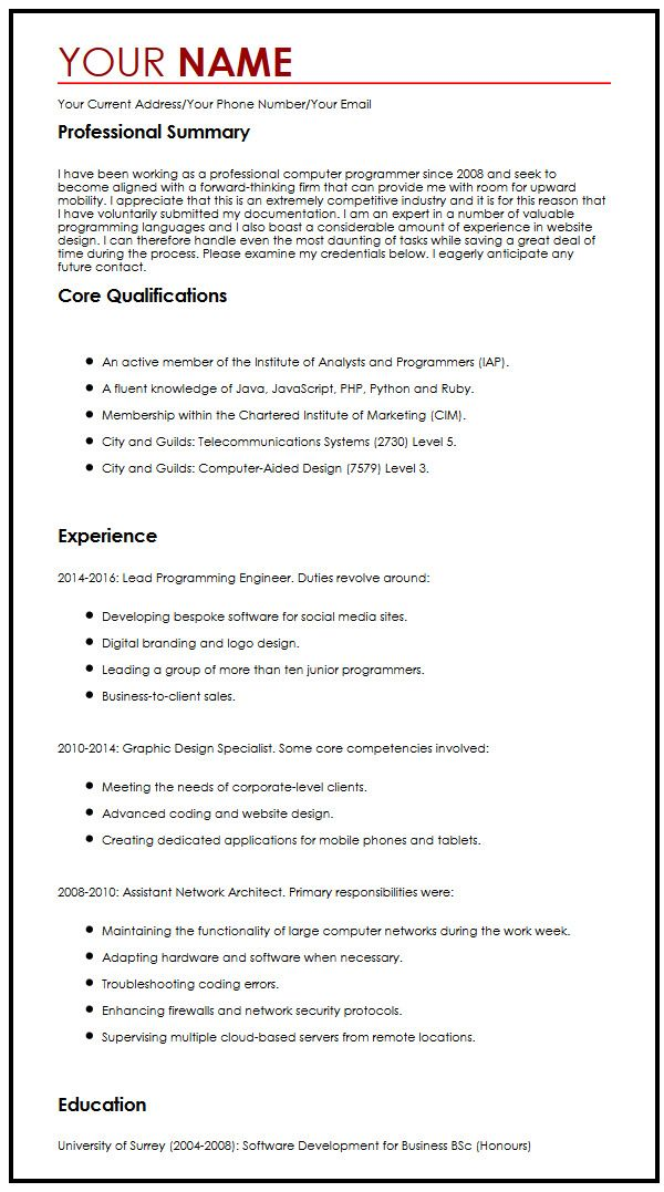 What does cv stand for in regards to a application