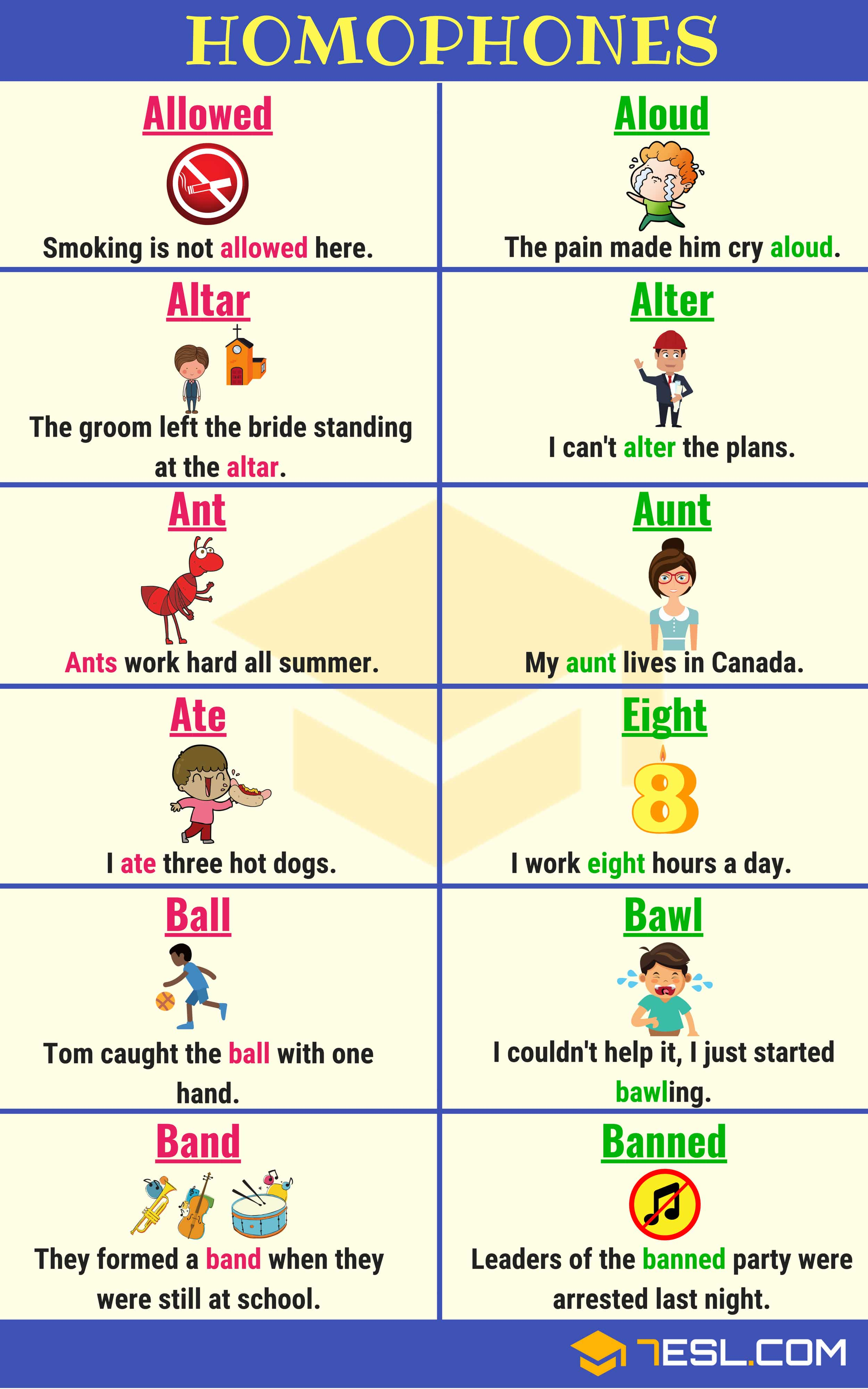 Homophones list with meanings pdf