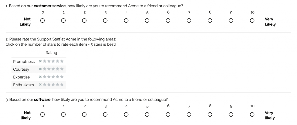 Online survey on communication example questions
