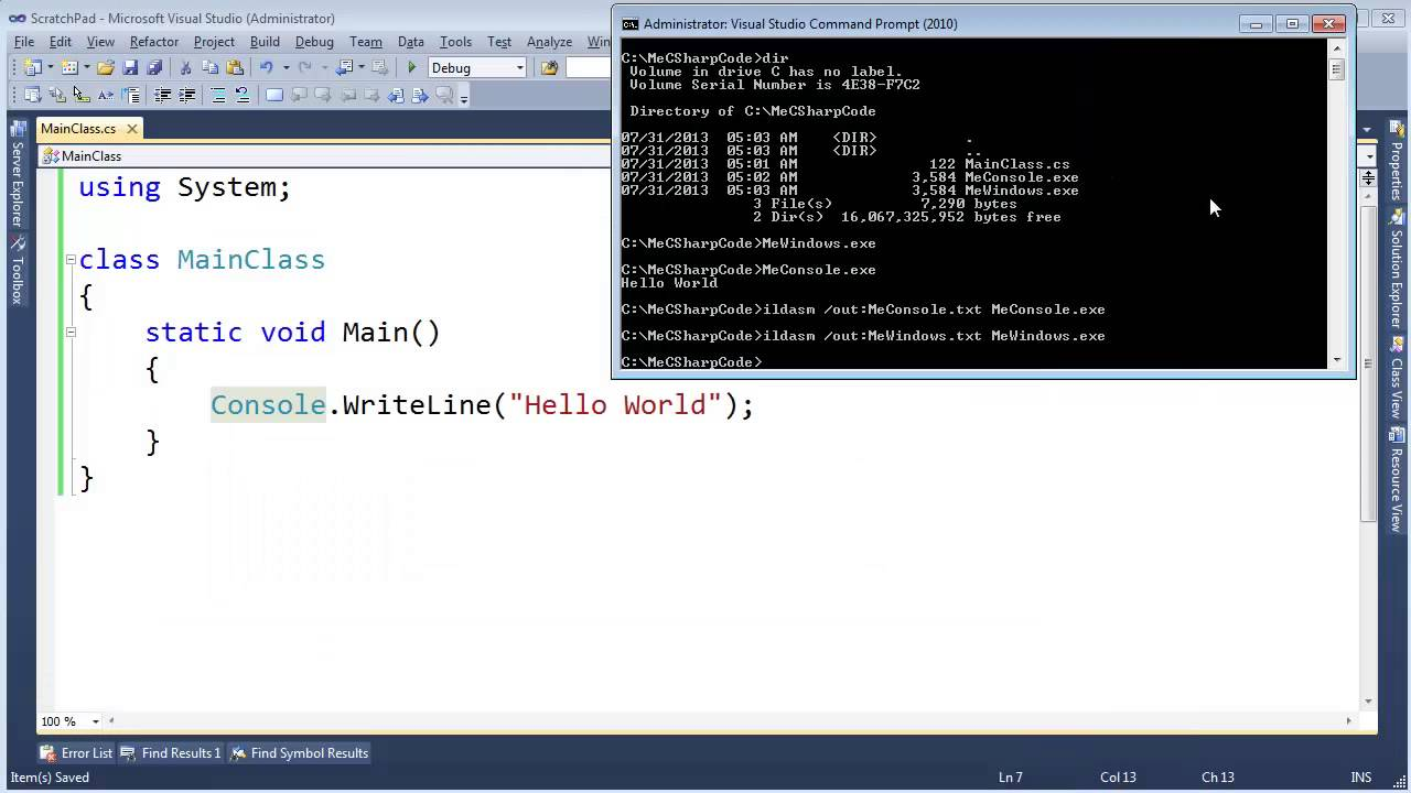 Create a window in a console application