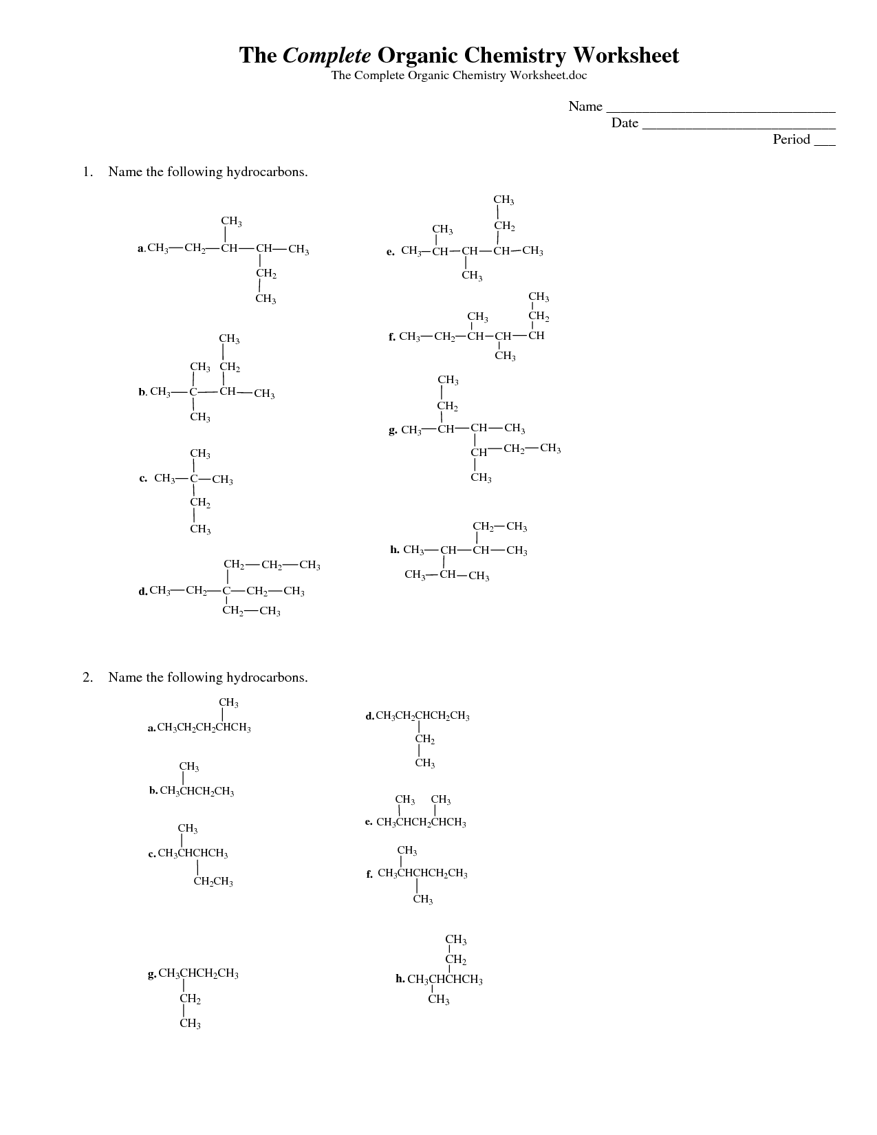 Naming alkenes with alkyl groups pdf with answers